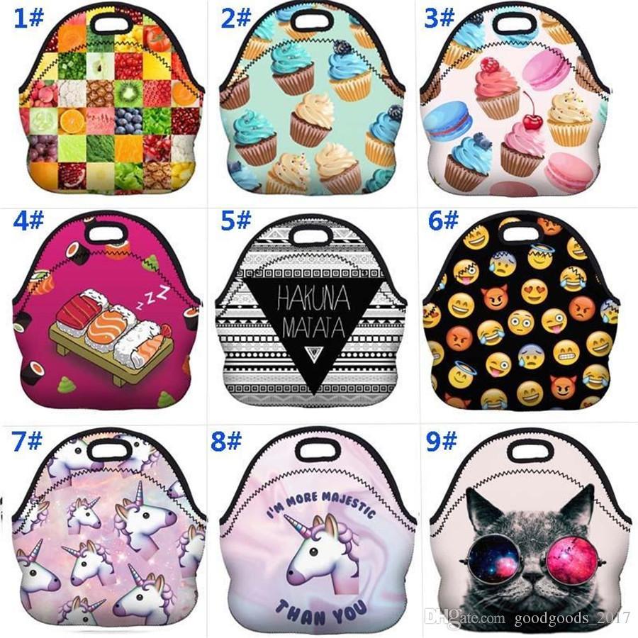 91ea55527f8b 3D Thermal Insulated Lunch Tote bag Emoji Unicorn Flamingo Waterproof  Neoprene Picnic Snack Bags Lunch bag Insulation bags mk757