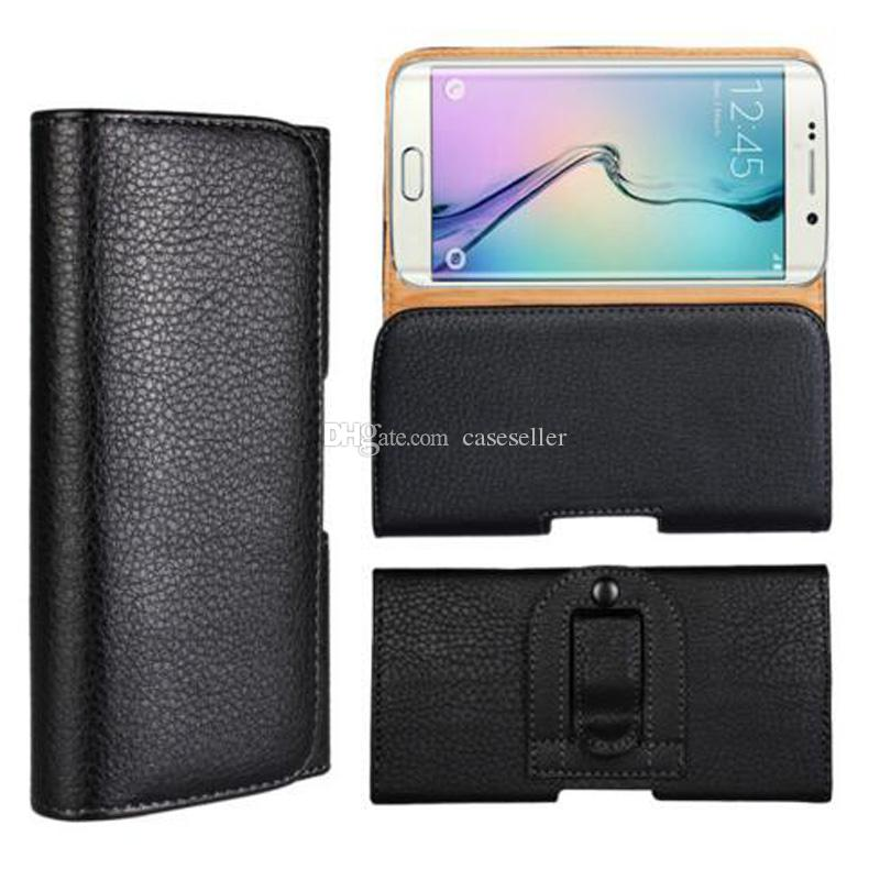 Universal Litchi Grain with Clip Belt PU Leather Cover Waist Pouch Case for iphone X 8G 7G 6S 5S PLUS S7 S8 PLUS