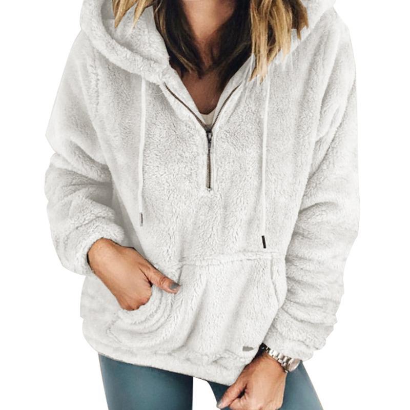 beaf5276183d5 2019 Casual Warm Fleece Fuzzy Hoodie Hooded Soft Long Sleeve Winter Hoodies  Sweatshirt Pullovers Women Zipper Jumpers Kangaroo M0061 From Jincaile03,  ...