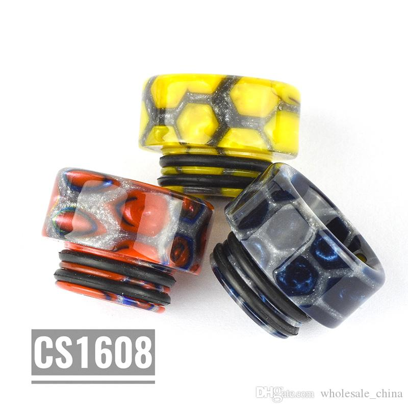 New CS1608 810 Resin Drip Tips Drip Silver Net Honeycomb Tip 16mm Fit TFV8/TFV12/TFVB Big Baby Mouthpiece High Quality DHL