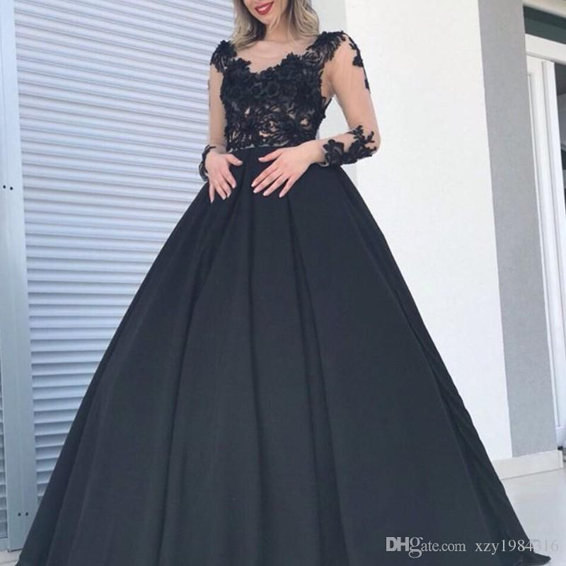 4047fb1d3e9 Black Long Sleeves Prom Dresses Sexy Scoop Neckline Lace Appliques Satin  Ball Gown Party Dress Elegant Saudi Arabia Celebrity Evening Dress Long Prom  ...