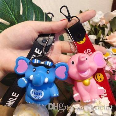 Super Cute BB CALL Elephant Lover KEYCHAIN KEYRING Cartoon Animation Vehicle Car Key KEYCHAINS KEYRINGS Japan Style Wedding Birthday Gift Carabiner Keychain