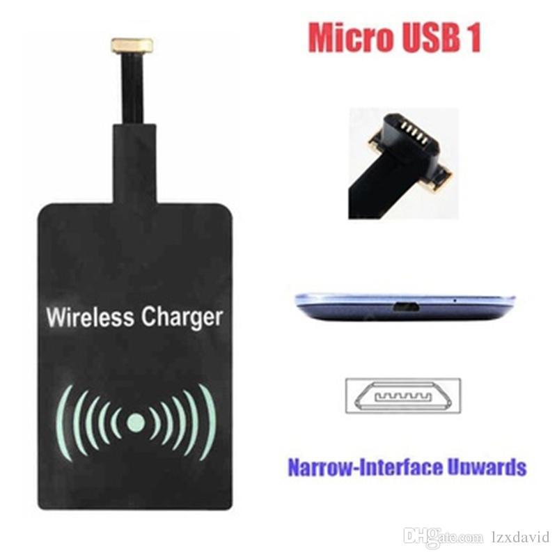 Universal Qi Cargador Inalámbrico Receptor Adaptador Receptor Receptor Bobina Teléfono Android Micro Cargador USB para iPhone 7 Plus 6 6 s Samsung Series