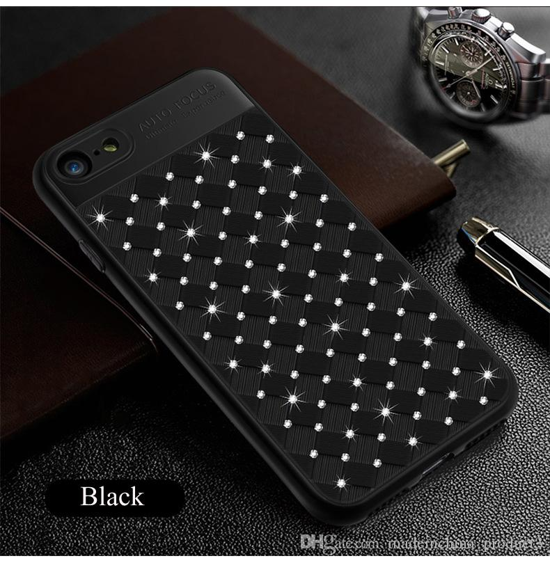 for iphone x ultra Slim Auto Focus Grid Weaving Back soft Cover Silicon TPU Case with Diamond for iphone 7plus 6plus 8 8plus