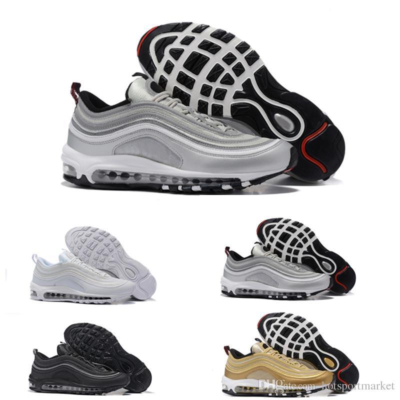 2017 Nuevos Hombres de Aire Bajo 97 Cojín Transpirable zapatillas de running Masaje Barato Running Zapatillas Planas Hombre 97 Deportes Zapatos Al