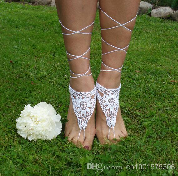 Sandales au Crochet Pieds Nus, Beach Pool, Chaussures Nude, Bijoux de Pied, Chaussures de Mariage, Sandales Blanches, Femmes Chaussures Chaussures.