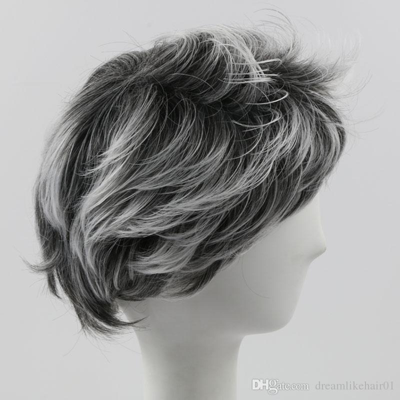 Mixed Color Ombre Wig Fashion Short Party Cosplay Synthetic Hair Wig for Women Men Wavy Wigs with Bangs Full Wigs