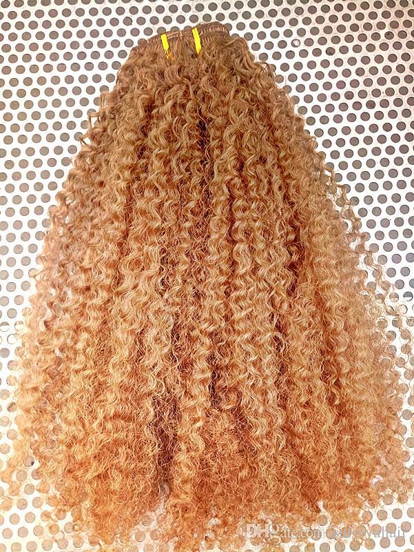 Clip brésilien dans les extensions de cheveux bouclés vierges humains Remy Blonde 27 # Clip dans les extensions de cheveux 120g un ensemble