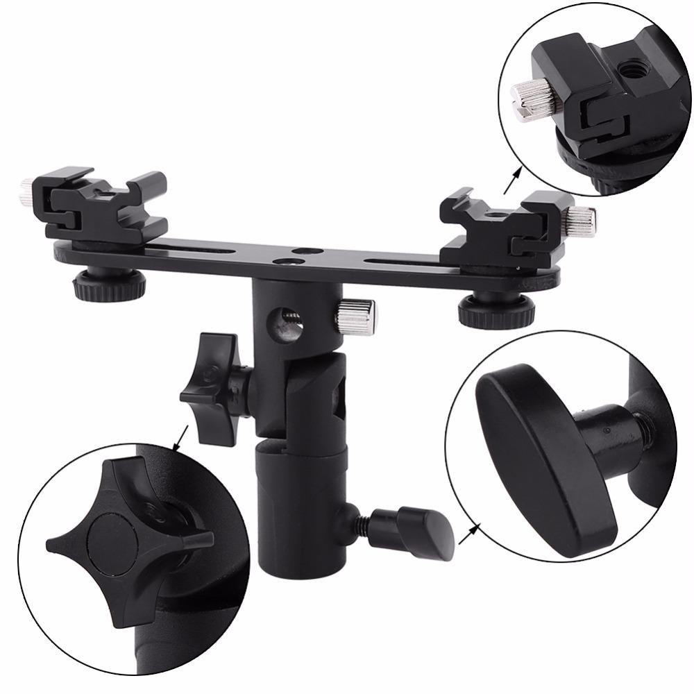 Black Double Hot Shoe Flash Umbrella Holder Light Stand Bracket For Photo Video Photography