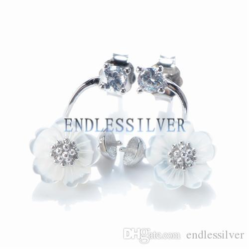 Stud Earring Settings Blank Base 925 Sterling Silver Flower White Shell Jewellery Findings for Pearl Party