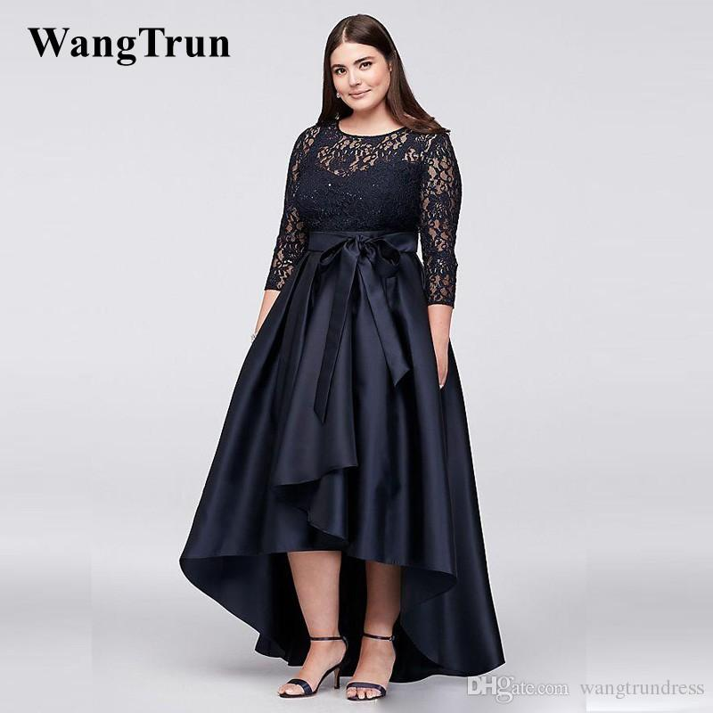 6cf19fbb02bbb Black Plus Size High Low Evening Dresses Formal Gown With Half Sleeves Sheer  Jewel Neck Lace A Line Evening Prom Gowns Cheap Dresses Green Evening Dress  ...