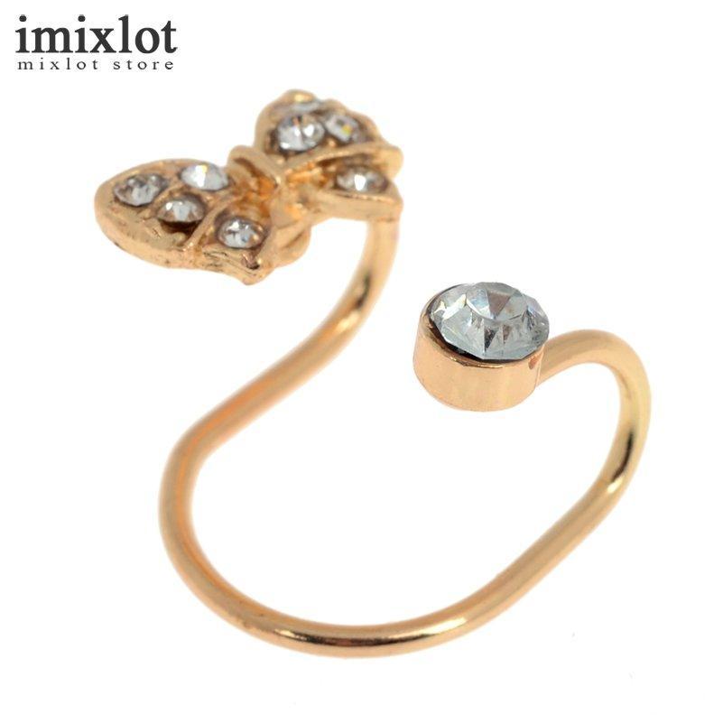 Oro argento punk strass bowknot polsino dell'orecchio clip su orecchini gioielli di moda non piercing gli uomini donne brinco boucle d'oreille