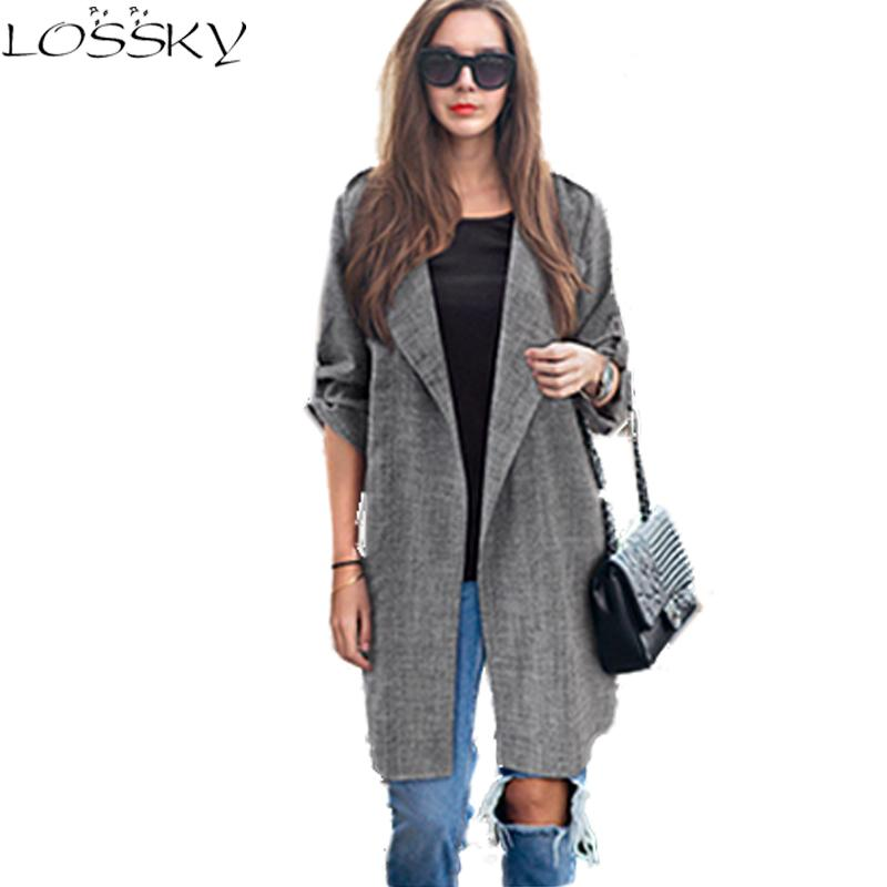 2017 Big Yard Autumn Blazers Larger Size Women Coats Long Jackets Casual Spring Suit Cardigan Dark Grey Outwear Plus Size Blusa