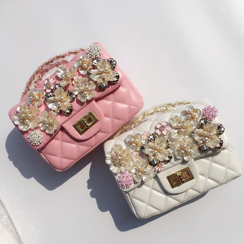 Bags Flower Soft Pu Leather Women Bag 2017 New Pink White Ladies Pearl  Flowers Small Bag Female Diamond Designer Chains Shoulder Designer Handbags  On Sale ...