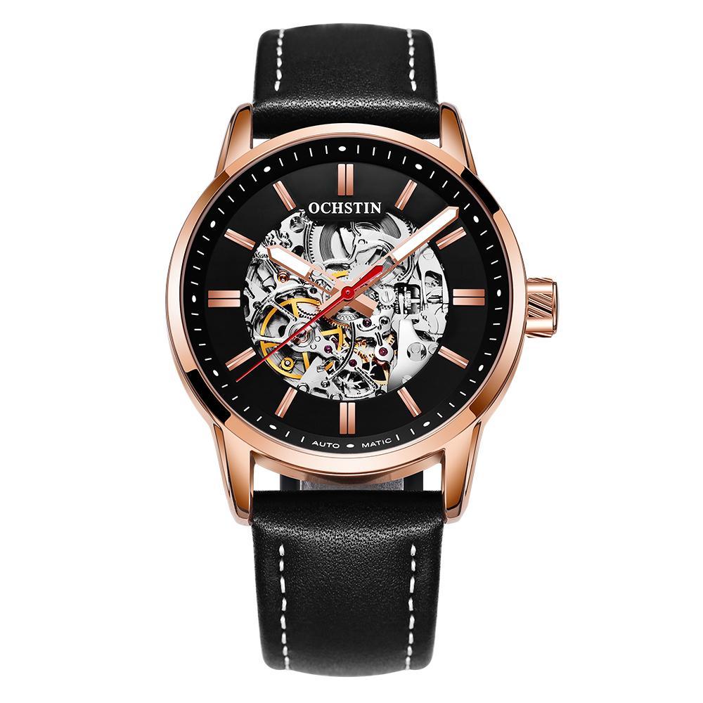 743af07cad3b Compre OCHSTIN GQ62001B Relojes Mecánicos Para Hombre De Negocios De Moda  Masculina Casual Correa De Cuero Reloj Automático Hombres Reloj Timer Reloj  De ...