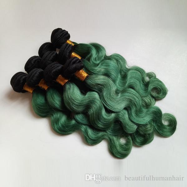 European Brazilian virgin Hair Extension ombre weaves sexy 1B/green Two tone 8-28inch Beautiful Fashion Womens Indian remy human weft