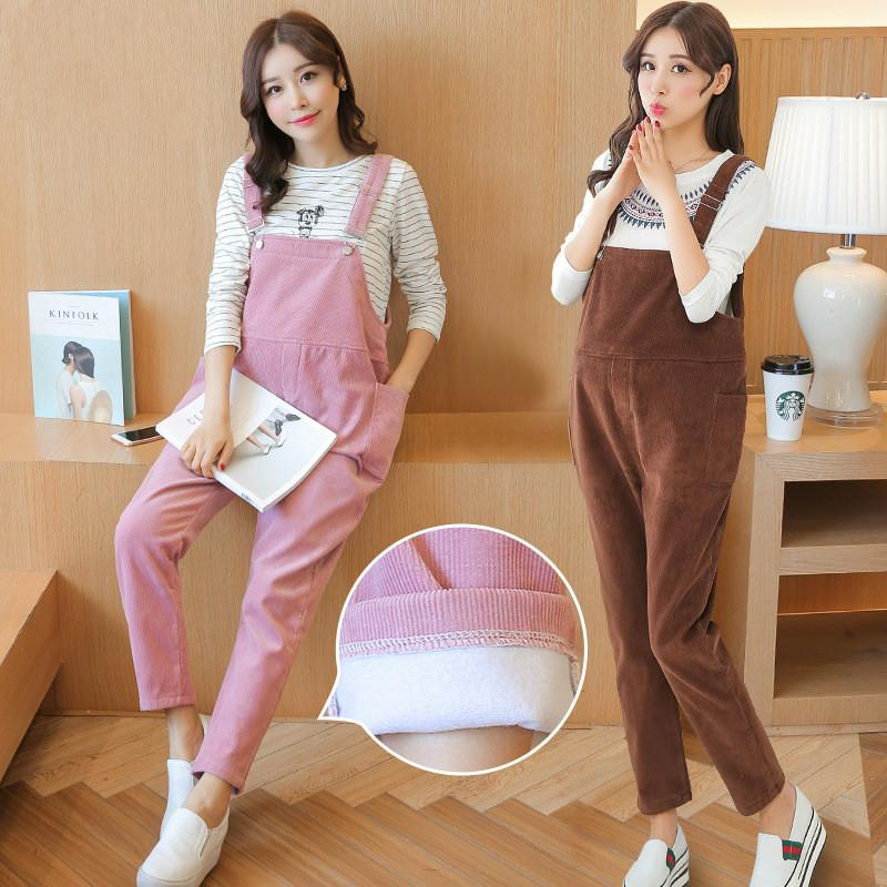High Quality Maternity Overalls Pregnancy Jumpsuits Rompers Pregnant Women Thickening Corduroy Casual Suspender Bib Pants P113
