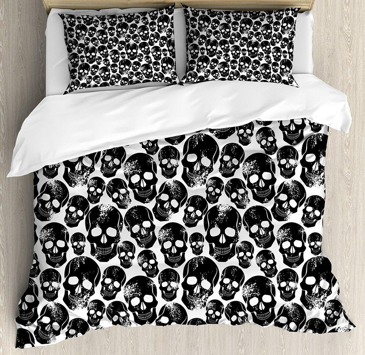 Gothic Duvet Cover Set Grunge Black Human Skulls on White Backdrop Evil Men Fear Horror Death Skeleton Decor 4 Piece Bedding Set