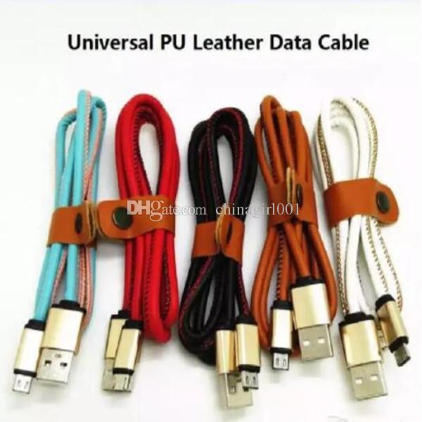 PU deri Hızlı Şarj 1 m 3ft Alüminyum Alaşım Mikro V8 5pin samsung s6 s7 için usb veri şarj kablosu kenar