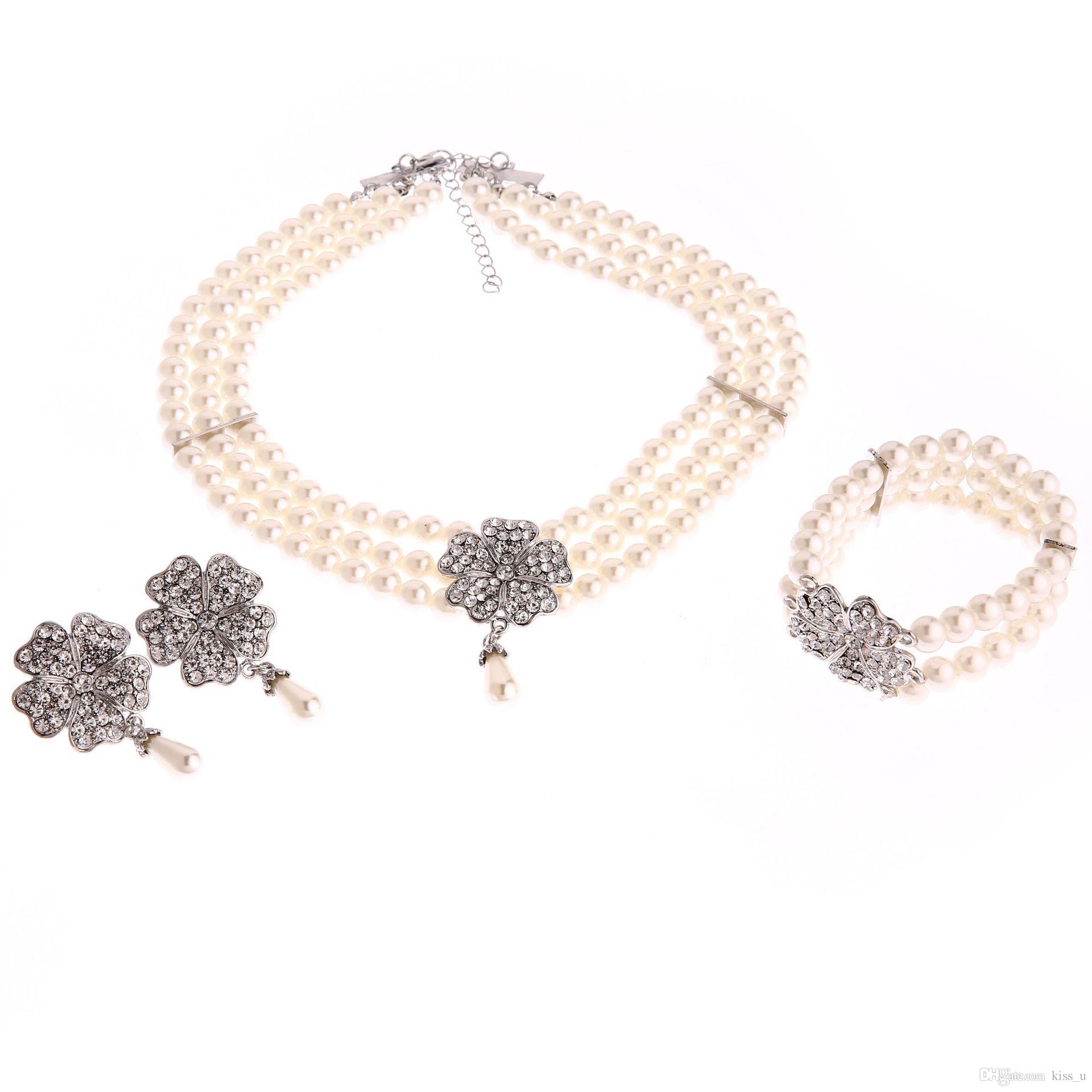 Earrings For Women 2018 Elegant Pearl Bridal Jewelry Sets Silver