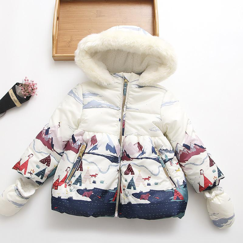 Baby Girls Thick Warm Coats with Fleece Hooded Children Outerwear Down Jackets Girl Winter Clothes Print Kids Jacket with Gloves