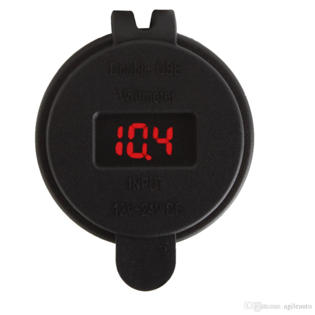 12v LED double chargeur de port USB de voiture 2 avec voltmètre cc prise adaptateur allume-cigare diviseur adaptateur secteur prise AUP_20Z