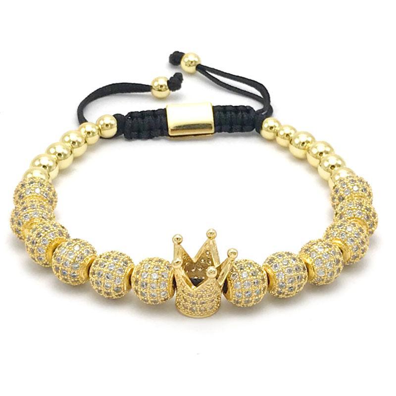 a68c299f31de 1 unids Nuevo Diseño de moda mujer CZ Imperial Crown Bracelet con 8mm color  oro Micro Pave CZ Mujeres Trenzado Macrame pulsera