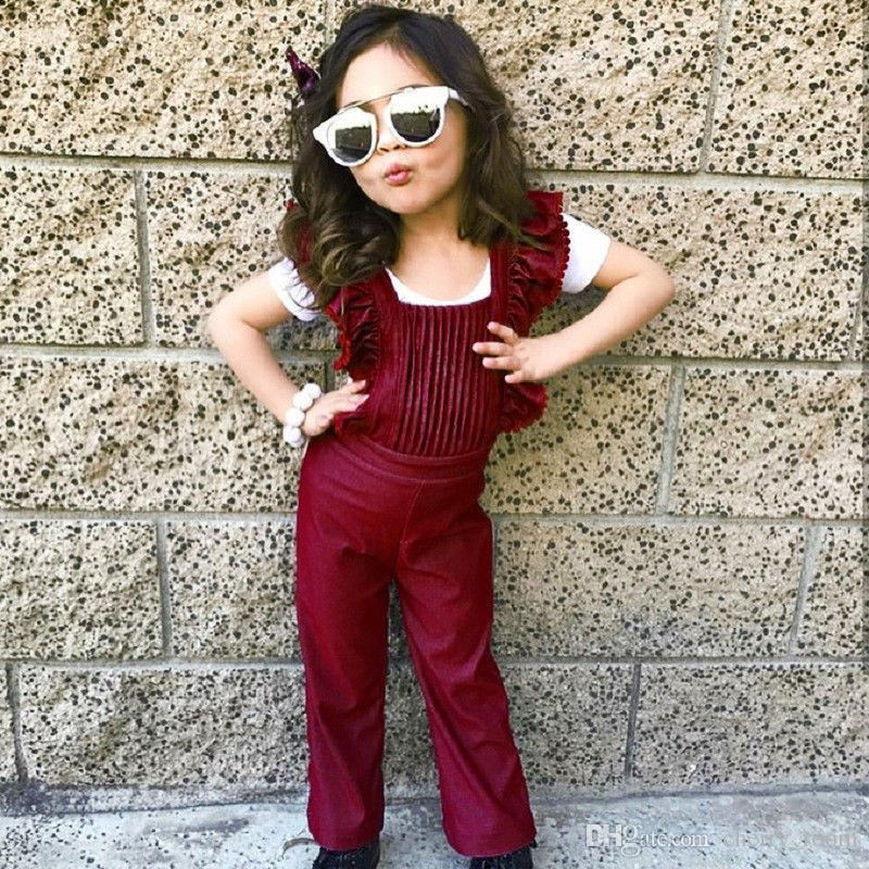 16abd995f48 Baby Girls Jumpsuit Romper Outfit Spring Fall Girl Playsuit Toddler Big Girl  Pleated Romper Children Clothes Kids Denim Overalls A8894 Christmas Baby  Romper ...