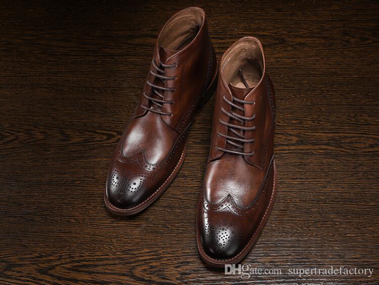 Stivali da uomo in pelle martellata Stringati intagliati in vera pelle di alta qualità. Scarpe casual da uomo