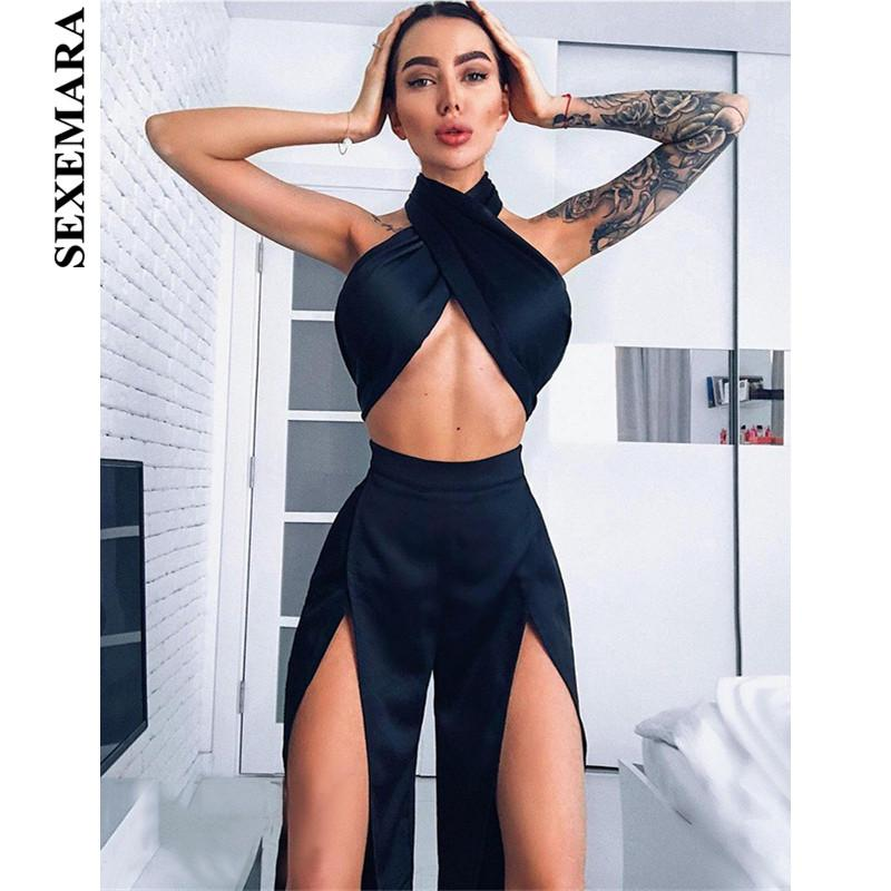 3169033968b3 2019 SEXEMARA Satin Silk Sexy Black Crop Top Split Wide Leg Pants Set Club  Outfit Matching Sets For Women Overall Set C66AC17 From Viviant, $28.37 |  DHgate.