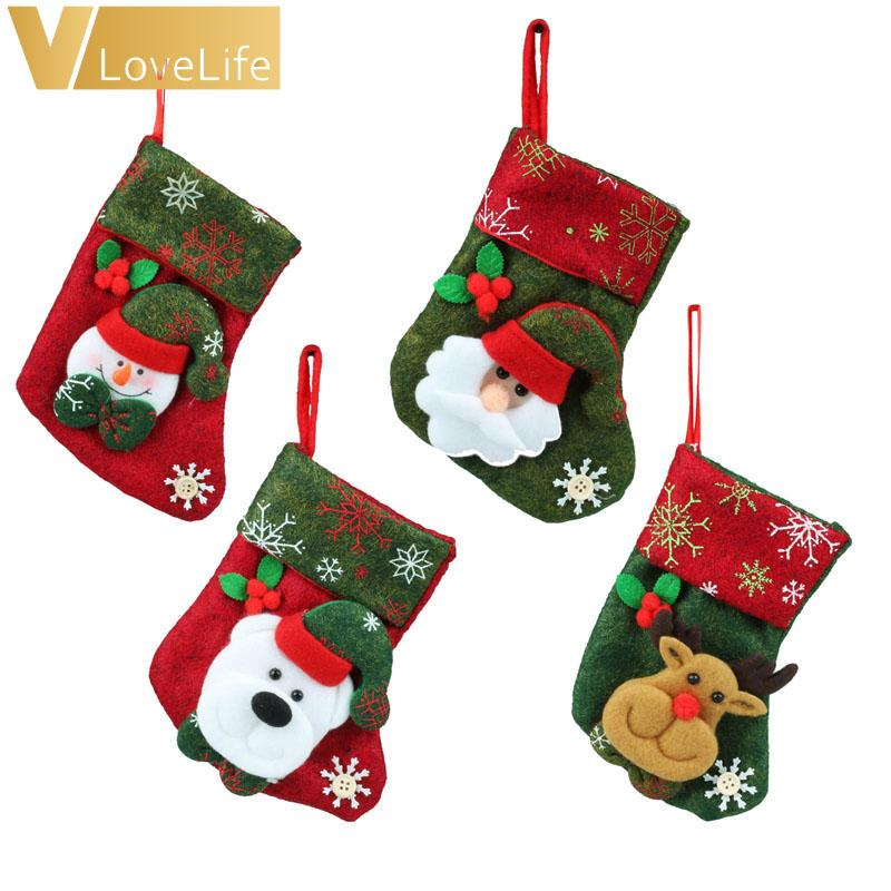 3a80e01b0 Lovely Christmas Stockings Socks 2018 New Year Santa Claus Candy Gift Bag  Xmas Tree Decor Festival Party Supplies Exclusive Christmas Decorations  Exterior ...