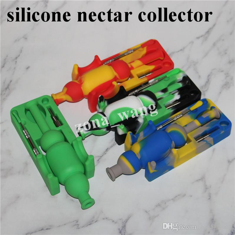 Toptan silikon nektar toplayıcı kitleri dab aracı Sigara Cam Bongs Aksesuarları silikon kuleleri 5 ml silikon konteyner DHL
