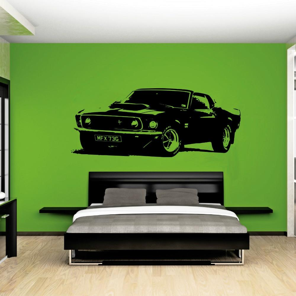 Amovible Vintage XL Grande Voiture Ford Mustang 1969 Mur Art Decal Sticker Décoration de La Maison Art Papier Peint Autocollant De Voiture A-101