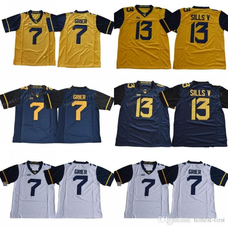 finest selection aea73 aaac3 7 Will Grier Jersey 13 David Sills V West Virginia Mountaineers College  Football Jerseys Navy Yellow White