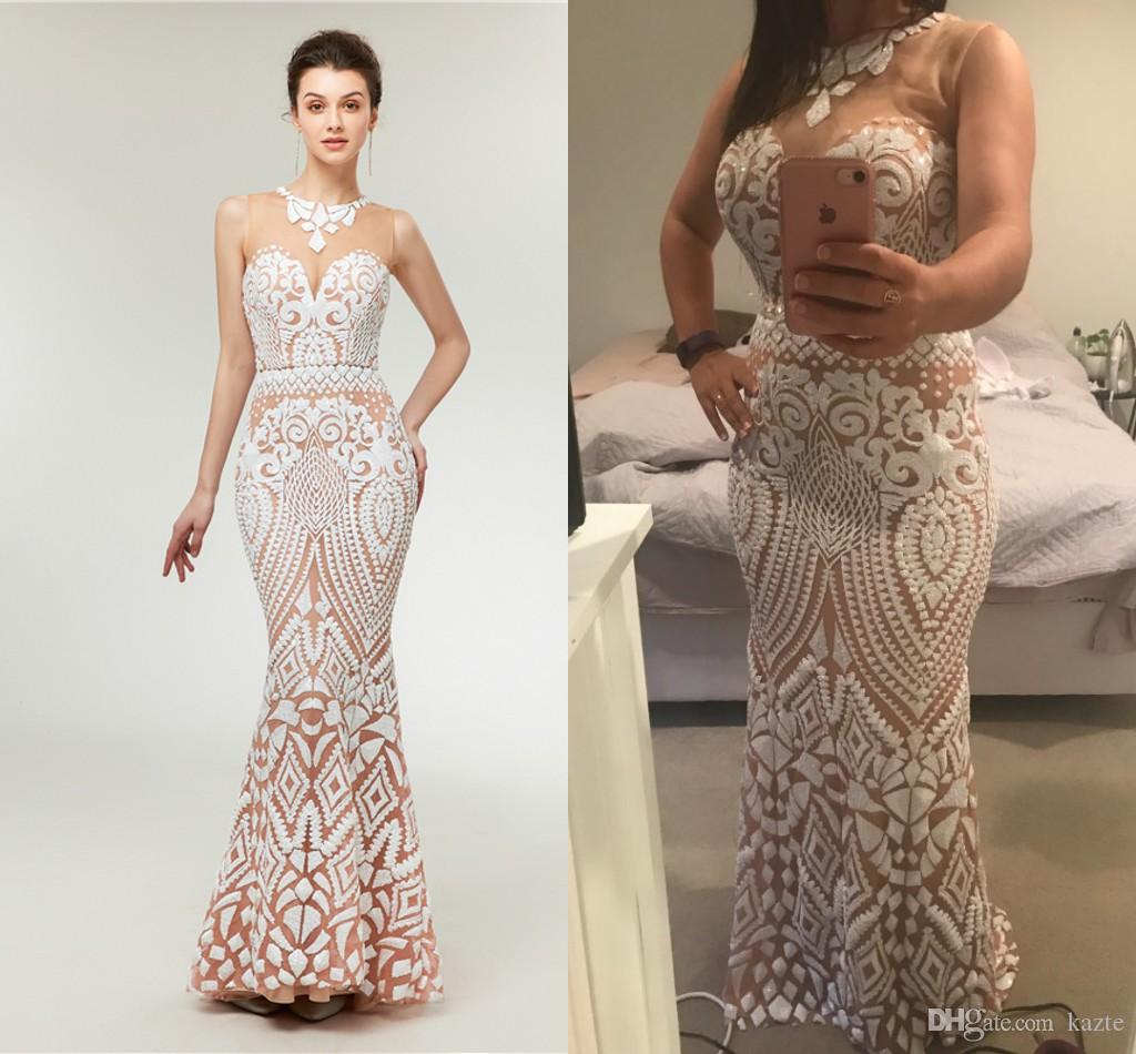Sleeveless New Fashion Mermaid Tulle Evening Gowns Long Elegant White Burgundy Sequins Trumpet Sheer Back Formal Prom Dress 2018 Real Photo