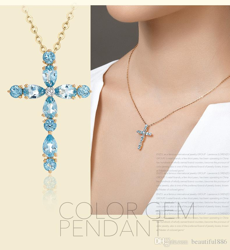 New Fashion Jewelry Plated 18K Gold Topaz Natural Color Gem Cross Pendant Female Clavicle Necklace Wholesale,New Design Cross