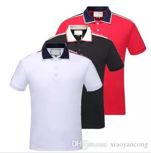 39f8015a4d5d 2019 2018 Italy Designer Polo Shirt T Shirts Luxury Brand Snake Bee Floral  Embroidery Mens Polos High Street Fashion Stripe Print Polo T Shirt From ...