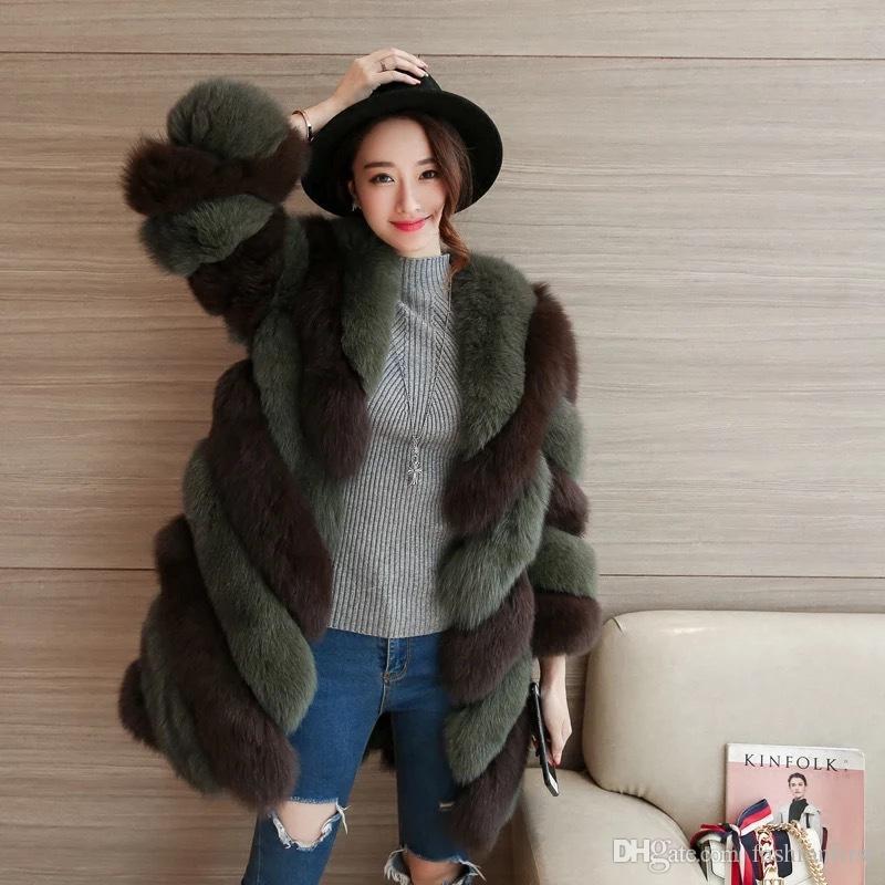 0a90768ac New Design Luxury Mid Length Faux Fur Coat Stripe Lady Fashion Warm Outwear fox  fur coat women's Korean long imitation fur