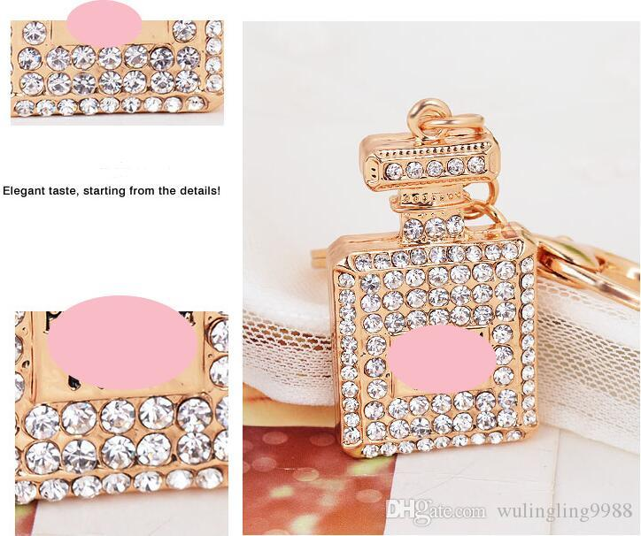 es Diamante de cristal botella de perfume llavero mosquetón llavero anillos titulares bolso cuelga mujeres llaveros llavero de cristal 30 unids