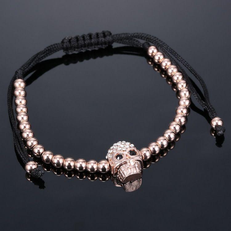 Pulseras de cuentas de cobre Pulsera de tejido de alta calidad Clásico Mini Diamante de cráneo incrustaciones de cuentas de cobre