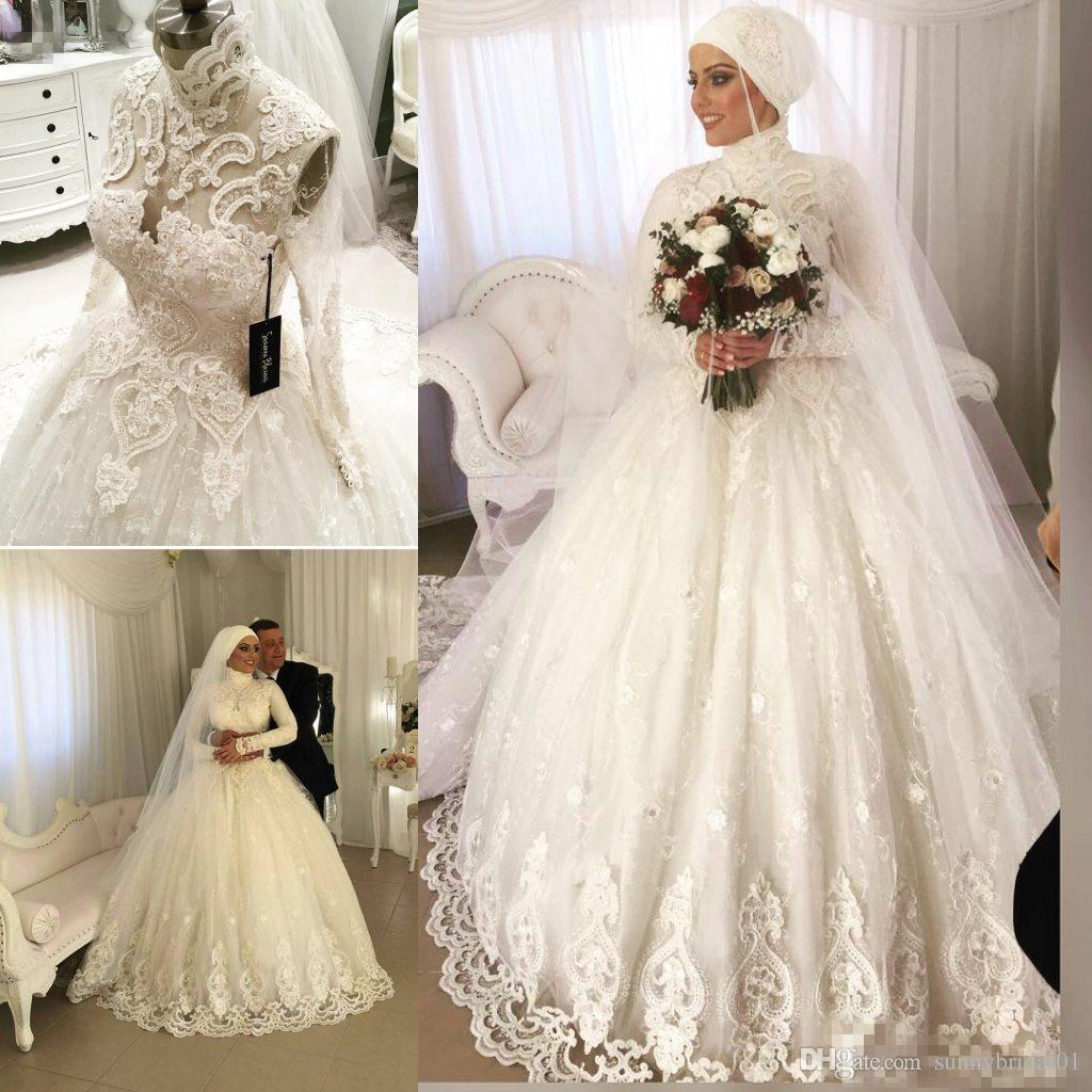 a13bca1bc64b Discount Unique Muslim Wedding Dresses Saudi Arabia Dubai Long Sleeves Lace  Applique A Line Floor Length Custom Made Wedding Gowns Wedding Dress Hire  ...
