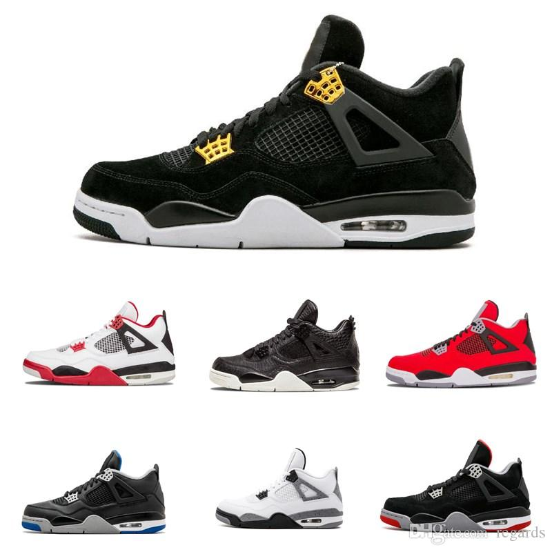 f0cb16673381 2019 2018 4 4s Basketball Shoes Men Pure Money Royalty White Cement Raptors  Black Cat Bred Fire Red Mens Trainers Sports Sneakers Size 8 12 From Regards