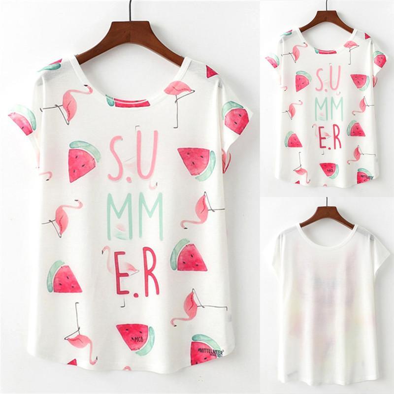 6fea972fe Womens Flamingo And Watermelon Print Tee Shirt Summer Short Sleeve O Neck T  Shirt Graphic T Shirts Custom Shirt From Darnelly, $30.92  DHgate.Com