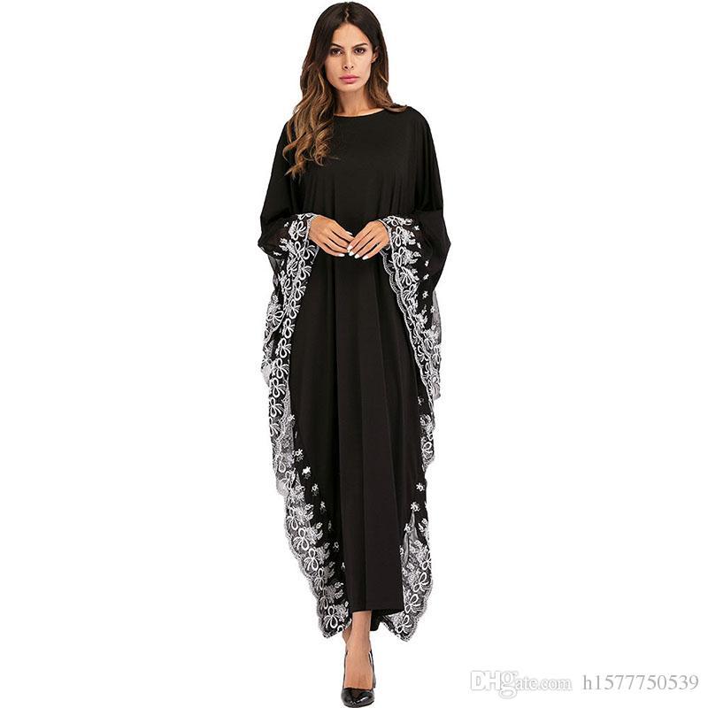 0d4c81d74823 Compre Oriente Medio Árabe Elegante Suelta Abaya Kaftan Vestidos De Moda  Islámica Turca Musulmán Vestido De La Ropa De Las Mujeres Bat Manga Bordado  Abayas ...
