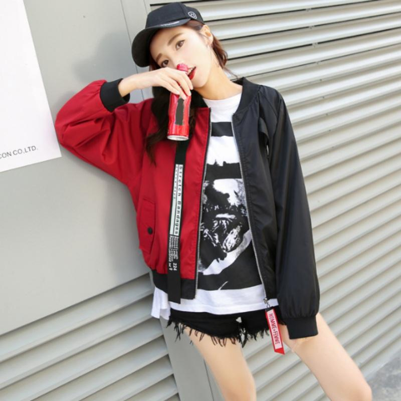 92a4a4b60 Patchwork Casual Bomber Jacket Color Block Women Two Tone Patch Back Autumn  Jackets 2018 New Letter Ribbon Zip Up Jacket