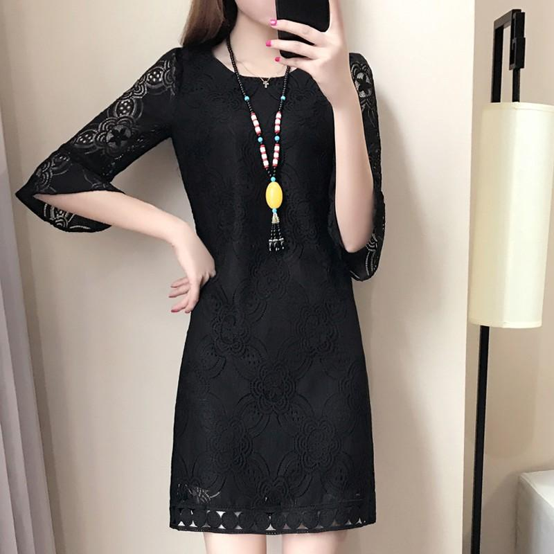 Women Dress White Lace Dresses Female Robe Femme Ete 2018 Casual Half Sleeve Plus Size Dress Vestidos Mujer Jurken Dentelle Mode