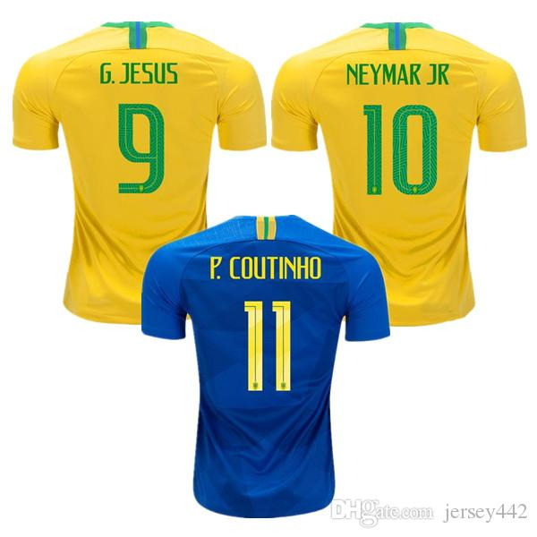 5e7ebc63a Home Yellow Away Blue Soccer Jersey World Cup 2018 PAULINHO Camisas ...