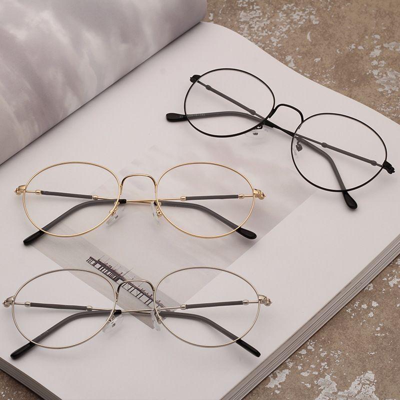 Eyeglasses Promotion Solid Alloy Unisex Eye Glasses Frames For Korean Metal Thin Flat Glasses Frame 2018 New Lady Kick Off