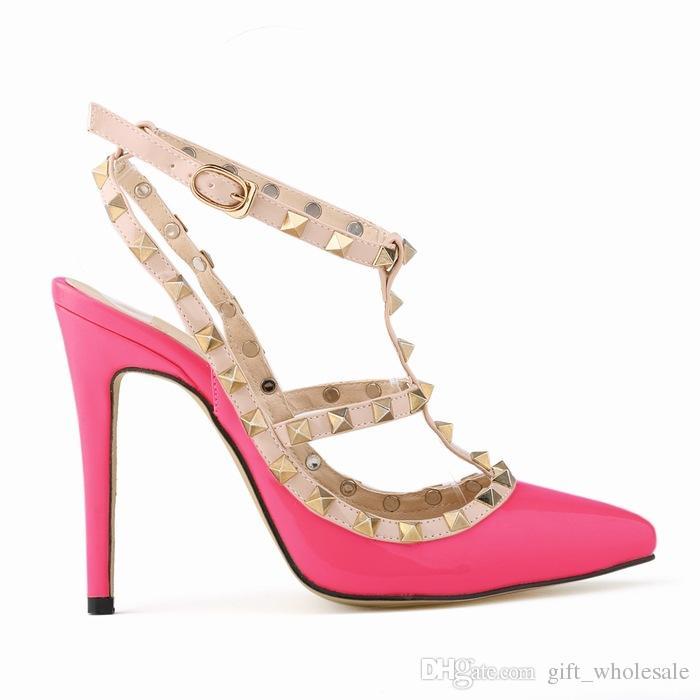 Zapatos de vestir de tacón alto de las mujeres remaches de la manera del partido de las muchachas atractivas punta estrecha zapatos hebilla plataforma bombas zapatos de boda negro blanco color rosa