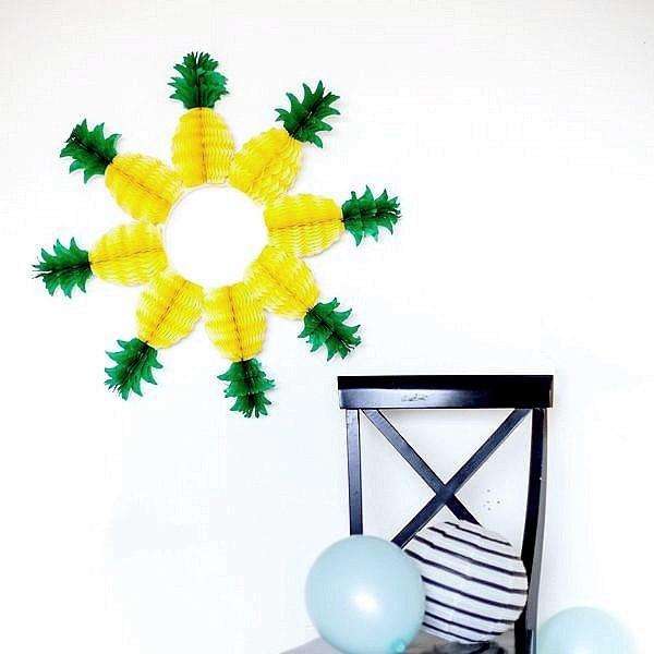 20cm Pineapple Decoration Tissue Paper Honeycombs Handmade Fruit Craft Summer Garden Party Supplies Party Favors